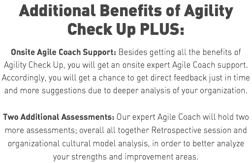Additional Benefits of Agility Check Up PLUS: Onsite Agile Coach Support: Besides getting all the benefits of Agility Check Up, you will get an onsite expert Agile Coach support. Accordingly, you will get a chance to get direct feedback just in time and more suggestions due to deeper analysis of your organization. Two Additional Assessments: Our expert Agile Coach will hold two more assessments; overall all together Retrospective session and organizational cultural model analysis, in order to better analyze your strengths and improvement areas.